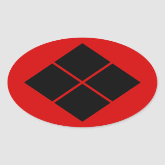 Takeda kamon Japanese samurai clan black on red Oval Sticker