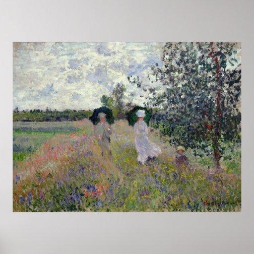 Taking a Walk near Argenteuil - Claude Monet Poster