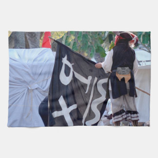 taking down pirate flag poster image tea towel