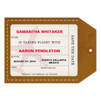 Taking Flight Save the Date Luggage Tag Card