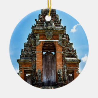 Taking man Ayun Temple, Bali Double-Sided Ceramic Round Christmas Ornament