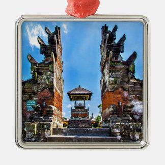 Taking man Ayun Temple, Bali Square Metal Christmas Ornament