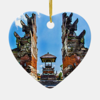 Taking man Ayun Temple, Bali Double-Sided Heart Ceramic Christmas Ornament