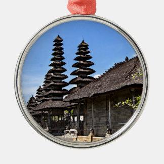 Taking man Ayun Temple, Bali Silver-Colored Round Decoration