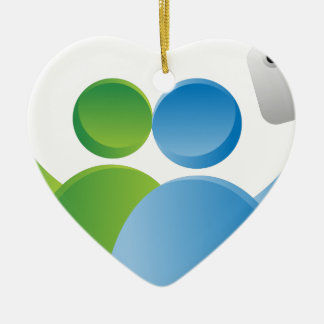Taking Selfie with Smartphone Ceramic Heart Decoration