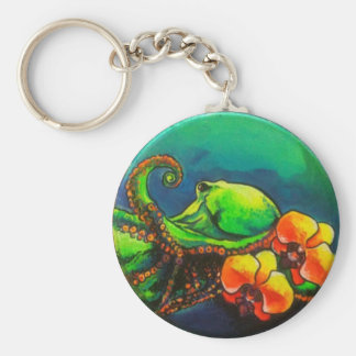 Tako (Octopus) with Orchids Basic Round Button Key Ring