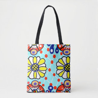 Talavera Allover Tote Bag- Flowers
