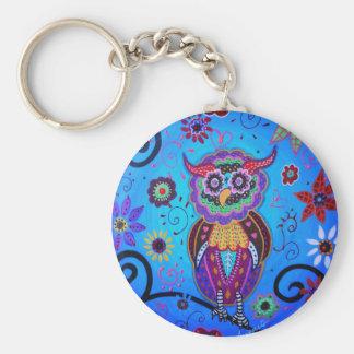 Talavera Owl Mexican Painting Key Ring