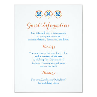 Talavera Spanish Tile Information Card 11 Cm X 14 Cm Invitation Card