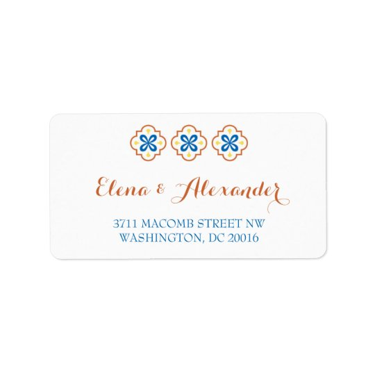 Talavera Spanish Tile Invitation Return Address Label