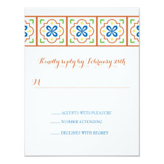 Talavera Spanish Tile Reply Card 11 Cm X 14 Cm Invitation Card