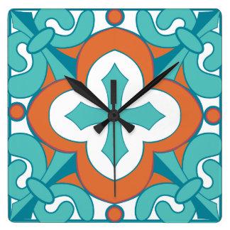 Talavera Tile Clock - Orange & Turquoise