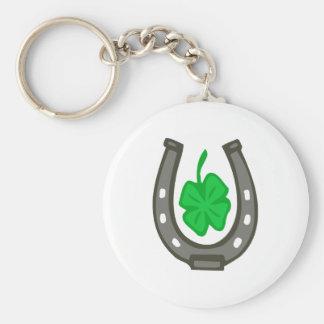 Talisman horseshoe clover sheet basic round button key ring
