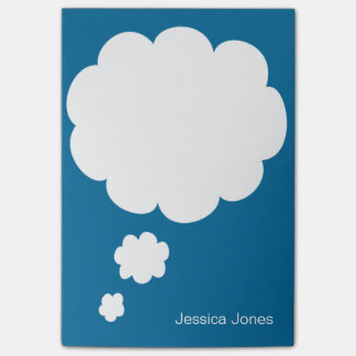 Talk Bubble Rounded Personalized Blue Custom Post-it Notes