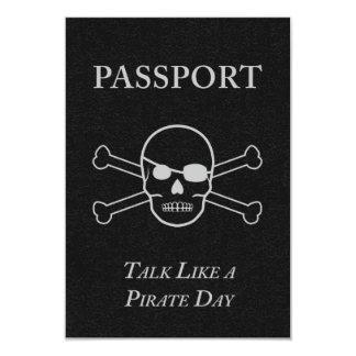 talk like a pirate day passport 9 cm x 13 cm invitation card