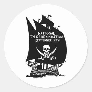 Talk Like A Pirate Day Ship Round Sticker