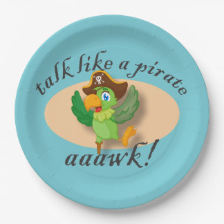 Talk Like A Pirate Parrot 9 Inch Paper Plate