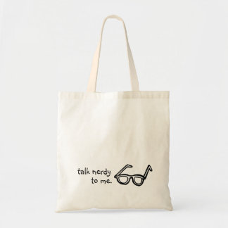 Talk Nerdy to Me! Glasses Funny Vintage Style Tote Budget Tote Bag