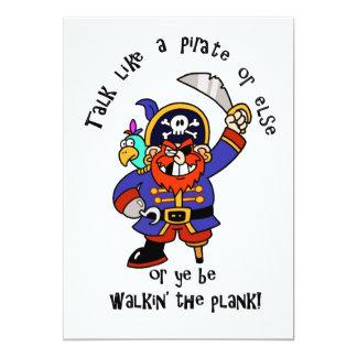 "Talk Pirate or Walk The Plank - It's Pirate Day 5"" X 7"" Invitation Card"