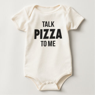 Talk Pizza to Me Funny Print Baby Bodysuit