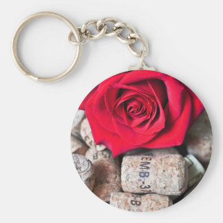 TALK ROSE with cork Basic Round Button Key Ring