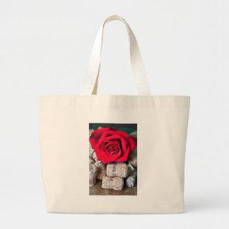TALK ROSE with cork Large Tote Bag