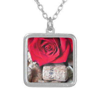 TALK ROSE with cork Silver Plated Necklace