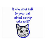 Talk to your cat about catnip post cards