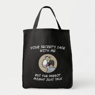 Talking African Grey Parrot Grocery Tote Bag