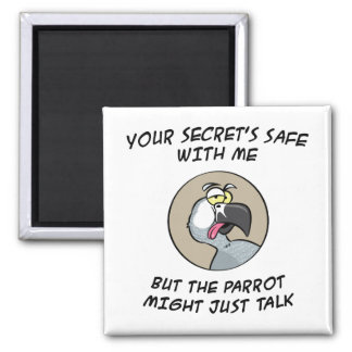Talking African Grey Parrot Square Magnet
