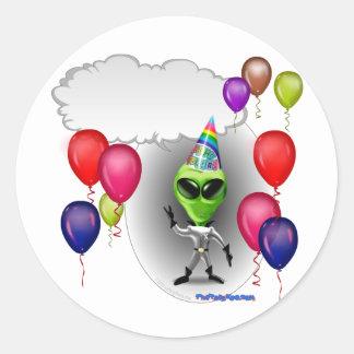 Talking Birthday Party Alien Classic Round Sticker