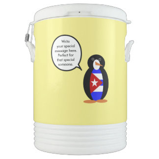 Talking Cuban Flag Penguin Drinks Cooler