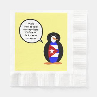 Talking Cuban Flag Penguin Paper Napkin