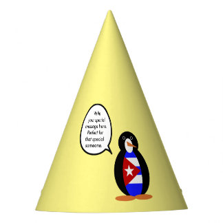 Talking Cuban Flag Penguin Party Hat