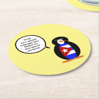 Talking Cuban Flag Penguin Round Paper Coaster