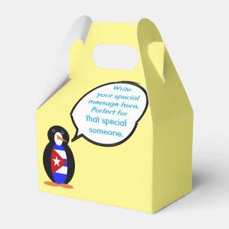 Talking Cuban Flag Penguin Wedding Favour Boxes
