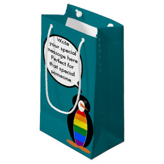 Talking Gay Pride Penguin Flag Small Gift Bag