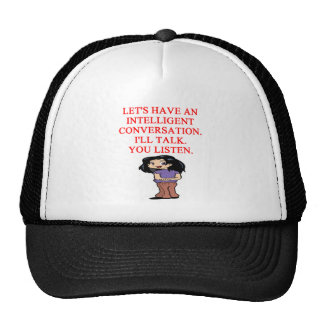talking insult mesh hat