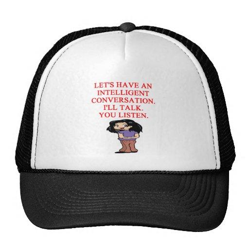 talking insult mesh hat