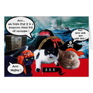TALKING PIRATE CATS ,ANTIQUE PIRATES TREASURE MAPS CARD