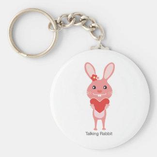 Talking Rabbit Basic Round Button Key Ring