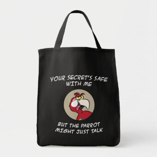 Talking Red Macaw Parrot Grocery Tote Bag