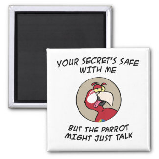 Talking Red Macaw Parrot Square Magnet
