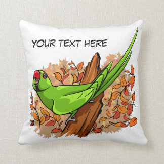 Talking ringneck parrot text is customizable cushion