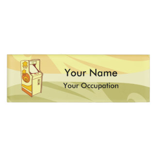 Tall arcade game console Name Tag
