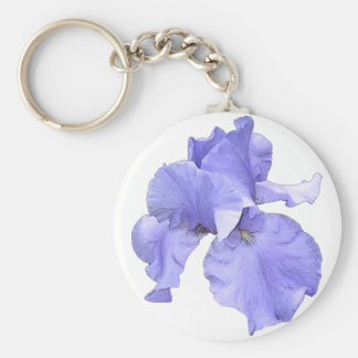 Tall Bearded Purple Iris Basic Round Button Key Ring