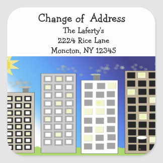 Tall Buildings Change of Address Square Sticker