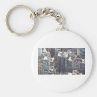 tall buildings basic round button key ring