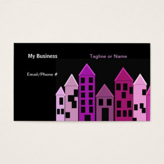 Tall Castle Buildings Silhouette Business Card
