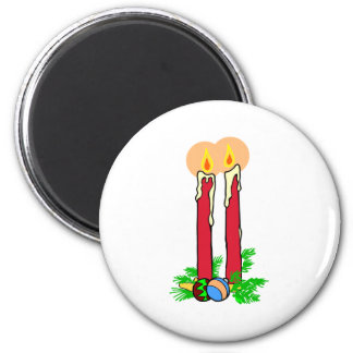 Tall Christmas Candles 6 Cm Round Magnet